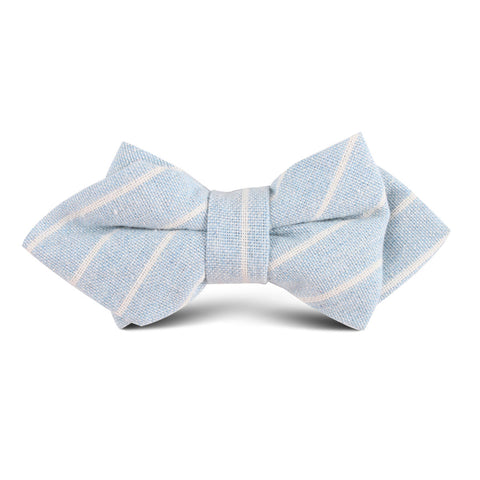 Baby Blue Wide Pinstripe Linen Kids Diamond Bow Tie