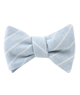 Baby Blue Wide Pinstripe Linen Self Bow Tie
