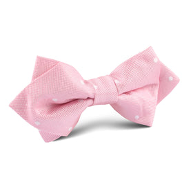 Baby Pink with White Polka Dots Diamond Bow Tie