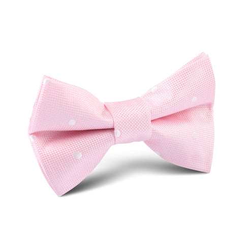 Baby Pink with White Polka Dots Kids Bow Tie