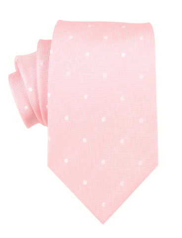 Baby Pink with White Polka Dots Necktie