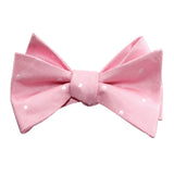 Baby Pink with White Polka Dots Self Tie Bow Tie 1
