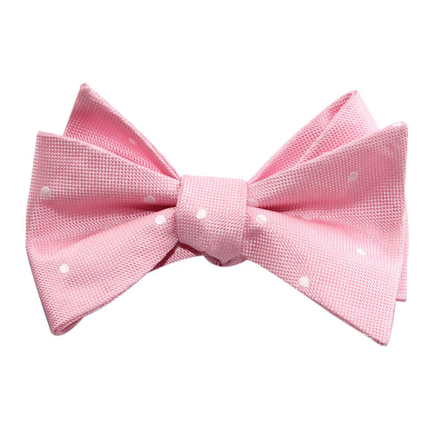 Baby Pink with White Polka Dots Self Tie Bow Tie