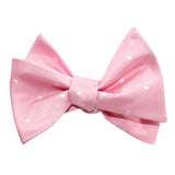 Baby Pink with White Polka Dots Self Tie Bow Tie 2