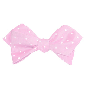 Baby Pink with White Polka Dots Self Tie Diamond Tip Bow Tie