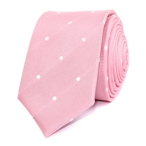 Baby Pink with White Polka Dots Skinny Tie