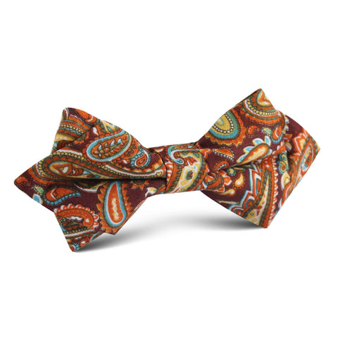 Baku Paisley Orange Diamond Bow Tie
