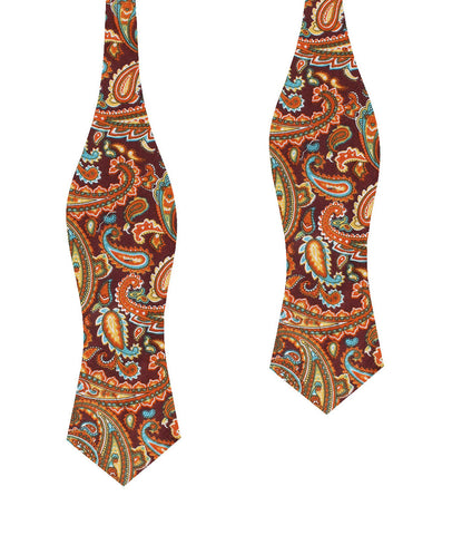 Baku Paisley Orange Diamond Self Bow Tie
