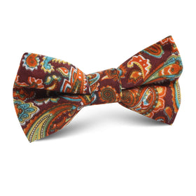 Baku Paisley Orange Kids Bow Tie