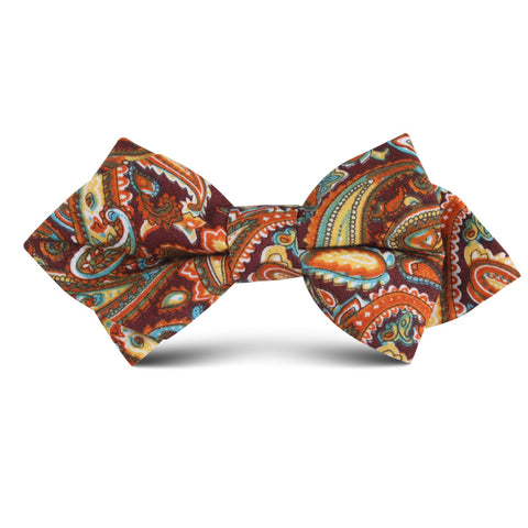 Baku Paisley Orange Kids Diamond Bow Tie