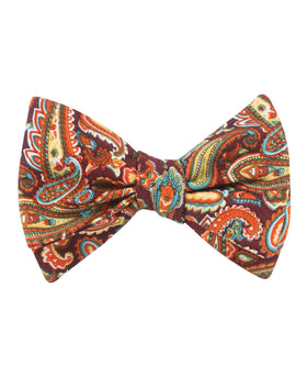 Baku Paisley Orange Self Bow Tie