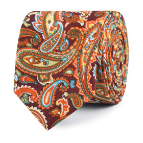 Baku Paisley Orange Skinny Tie