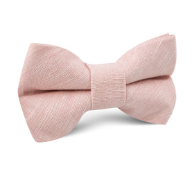 Ballet Blush Pink Chambray Linen Kids Bow Tie