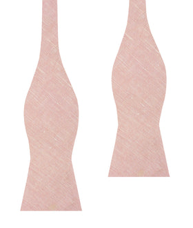 Ballet Blush Pink Chambray Linen Self Bow Tie