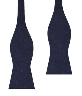 Baltic Sea Midnight Blue Linen Self Bow Tie