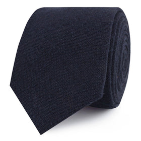 Baltic Sea Midnight Blue Linen Skinny Tie