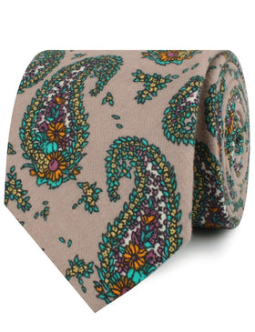 Bay of Kotor Light Brown Paisley Necktie