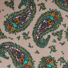 Bay of Kotor Light Brown Paisley Pocket Square