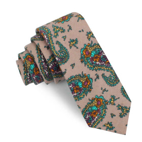 Bay of Kotor Light Brown Paisley Skinny Tie