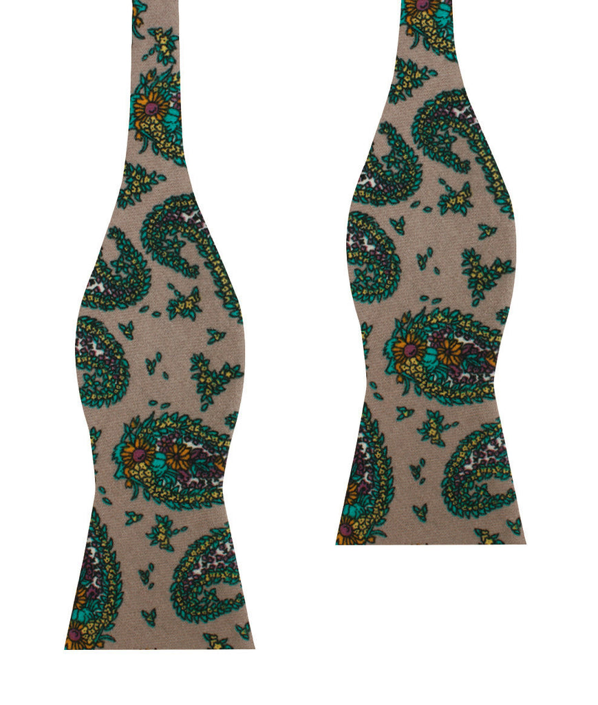 Bay of Kotor Light Brown Paisley Self Bow Tie