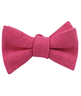 Begonia Hot Pink Linen Self Bow Tie
