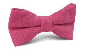 Begonia Hot Pink Linen Bow Tie