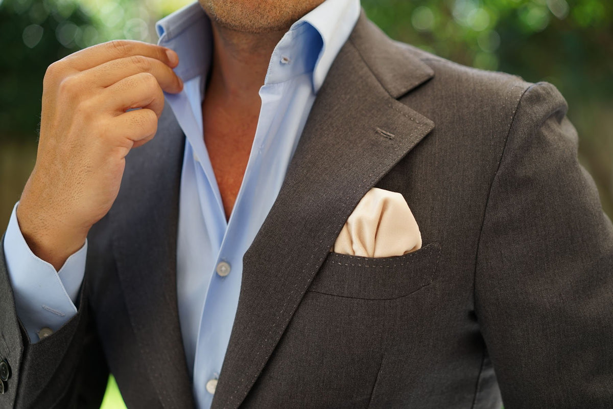 Beige Velvet Pocket Square