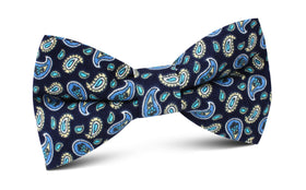 Beirut Blue Paisley Bow Tie