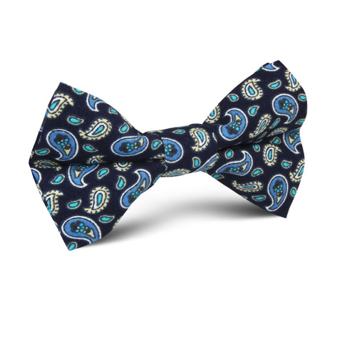 Beirut Blue Paisley Kids Bow Tie