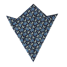 Beirut Blue Paisley Pocket Square