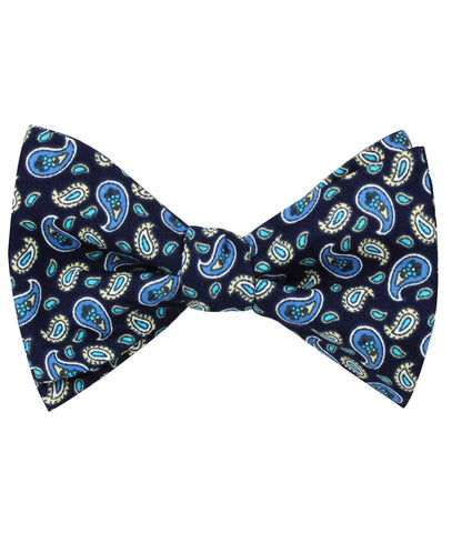 Beirut Blue Paisley Self Bow Tie