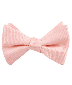 Bellini Peach Weave Self Bow Tie