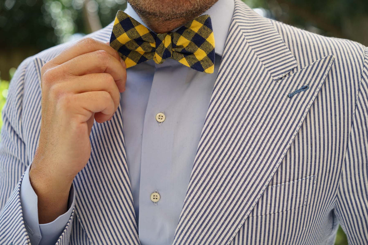 Bert Yellow Gingham Self Bow Tie