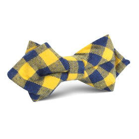Bert Yellow Gingham Diamond Bow Tie