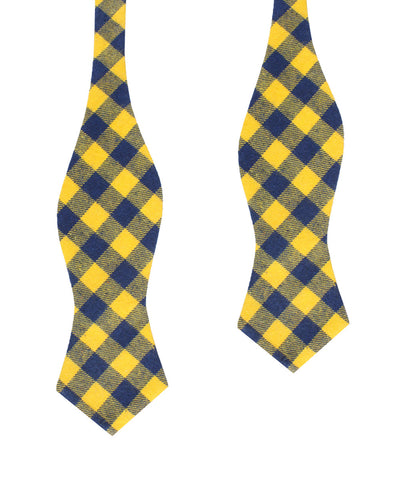 Bert Yellow Gingham Diamond Self Bow Tie