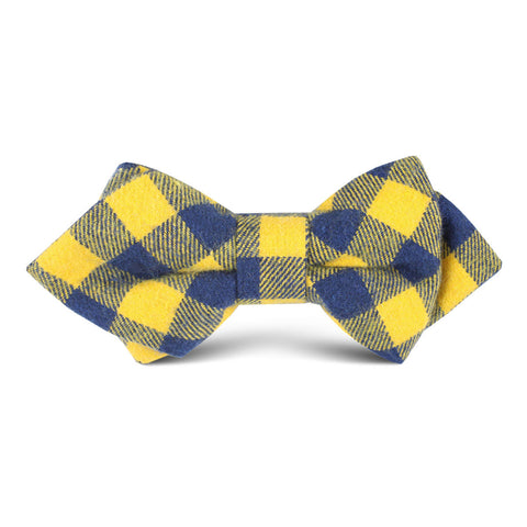 Bert Yellow Gingham Kids Diamond Bow Tie
