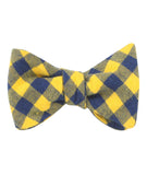 Bert Yellow Gingham Self Tied Bowtie
