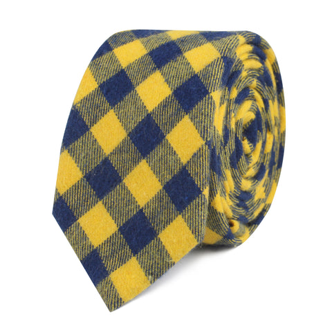 Bert Yellow Gingham Skinny Tie