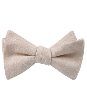 Biscotti Cream Linen Self Bow Tie