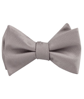 Biscotti Grey Weave Self Bow Tie