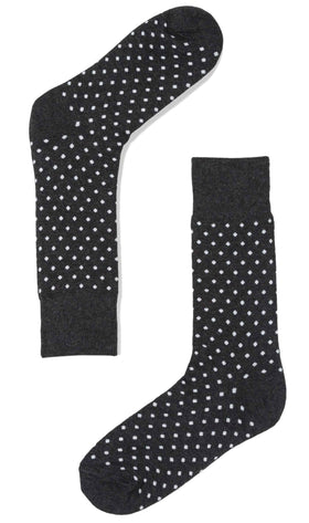 Black Charcoal Polka Dots Cotton-Blend Socks