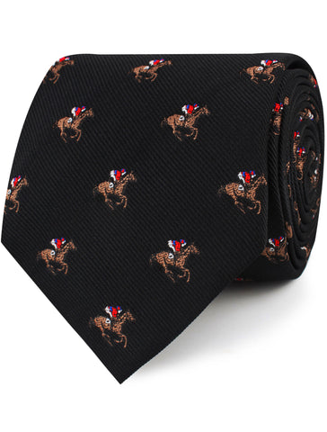 Black Melbourne Race Horse Tie
