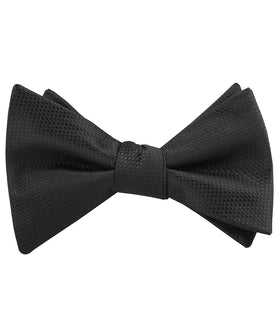 Black Basket Weave Self Bow Tie