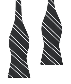 Black Double Stripe Self Bow Tie
