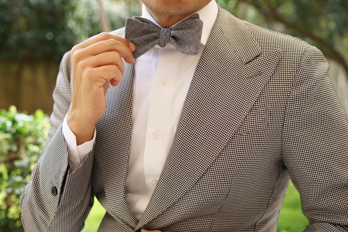 Black Herringbone Linen Self Tie Bow Tie