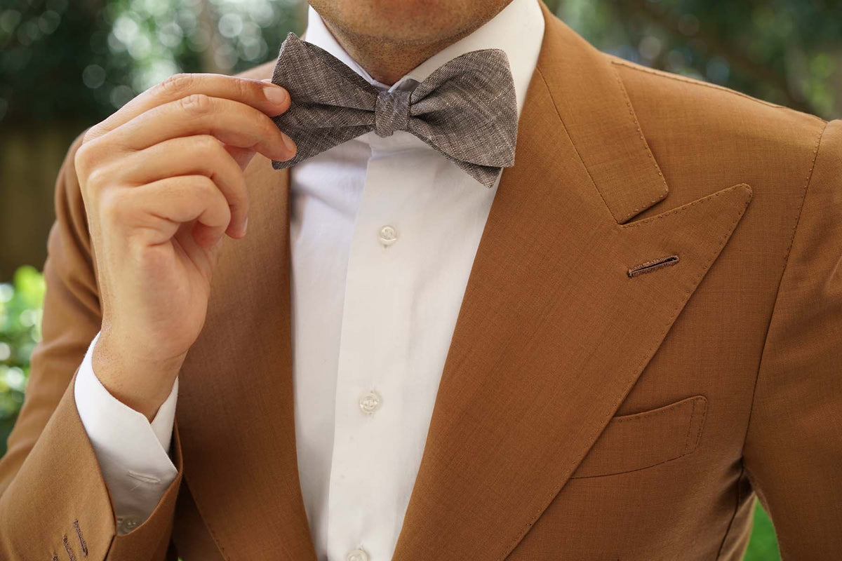 Black Linen Chambray Self Tie Bow Tie