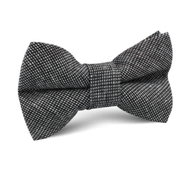 Black Needle Stitch Linen Kids Bow Tie