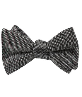 Black Needle Stitch Linen Self Bow Tie
