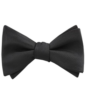 Black Weave Self Bow Tie