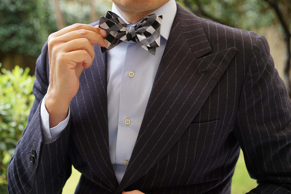 Black White Grey Checkered - Bow Tie (Untied)